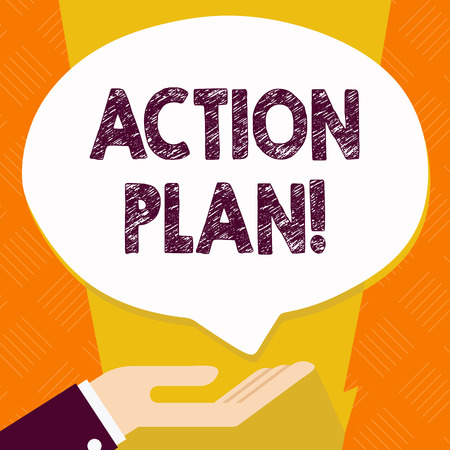 Text sign showing Action Plan. Business photo text proposed strategy or course of actions for certain time Palm Up in Supine Position for Donation Hand Sign Icon and Speech Bubble