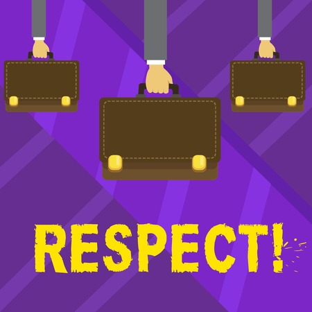 Writing note showing Respect. Business concept for Feeling of deep admiration for someone or something Appreciation Hands Carrying Brown Briefcase with Running Style and Lock Stock Photo