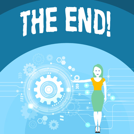 Writing note showing The End. Business concept for final part of something especially period of time activity story Woman Presenting the SEO Process with Cog Wheel Gear inside