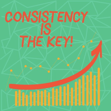 Writing note showing Consistency Is The Key. Business concept for by Breaking Bad Habits and Forming Good Ones Colorful Column and Line Graphic Chart with Arrow Going Up
