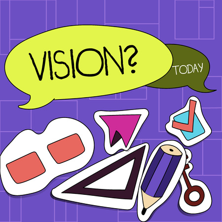 Handwriting text Visionquestion. Conceptual photo Company commitment describing future realistic state Two Blank Colorful Speech Balloon and Different Labels Sticker Style Icons