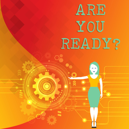 Word writing text Are You Readyquestion. Business photo showcasing Prepare well to face upcoming business changes Woman Standing and Presenting the SEO Process with Cog Wheel Gear inside
