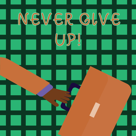 Handwriting text writing Never Give Up. Conceptual photo Be persistent motivate yourself succeed never look back Rushing Businessman Arm Swayed Farther Back and Hand Holding Color Briefcase
