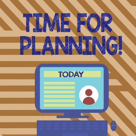 Text sign showing Time For Planning. Business photo showcasing exercising conscious control spent on specific activities Desktop Computer Mounted on Stand with Online Profile Data on Monitor Screen