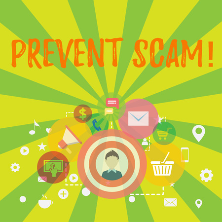 Conceptual hand writing showing Prevent Scam. Concept meaning Consumer protection fraudulent transactions photo of Digital Marketing Campaign and Elements for Ecommerce