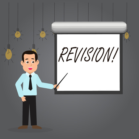 Word writing text Revision. Business photo showcasing Rechecking Before Proceeding Self Improvement Preparation Man in Necktie Talking Holding Stick Pointing to Blank White Screen on Wall