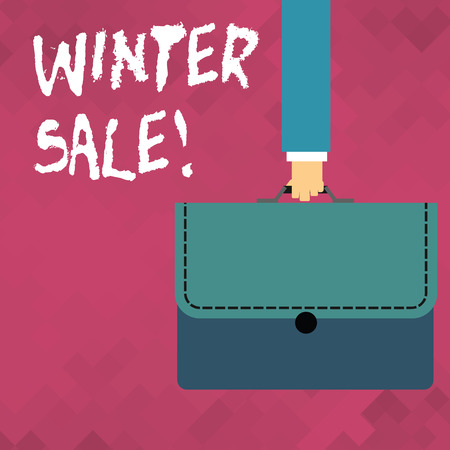 Word writing text Winter Sale. Business photo showcasing occasion when shop sells things at less than their normal price Businessman Hand Carrying Colorful Briefcase Portfolio with Stitch Applique Archivio Fotografico