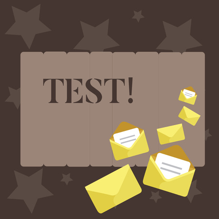 Conceptual hand writing showing Test. Concept meaning Academic systemic procedure assess reliability durability proficiency Closed and Open Envelopes with Letter on Color Stationery