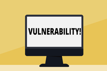 Word writing text Vulnerability. Business photo showcasing Information susceptibility systems bug exploitation attacker Blank Space Desktop Computer Colorful Monitor Screen Freestanding on Table
