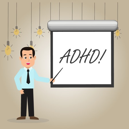 Writing note showing Adhd. Business concept for Learning made easier for children teaching no more a difficult task Man in Necktie Holding Stick Pointing White Screen on Wall