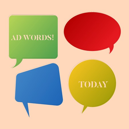 Writing note showing Ad Words. Business concept for Advertising a business over first of internet search results Speech Bubble Sticker in Different Shapes and Multiple Chat