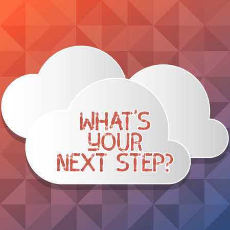 Handwriting text writing WhatS Your Next Step. Conceptual photo Analyse ask yourself before taking decisions Blank White Fluffy Clouds Cut Out of Board Floating on Top of Each Other Stock Photo