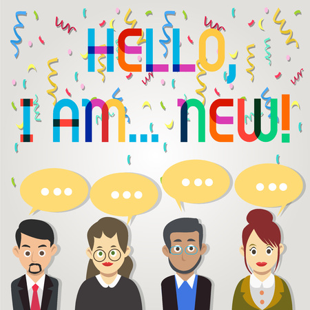 Text sign showing Hello I Am New. Business photo showcasing used greeting or begin telephone conversation Group of Business People with Blank Color Chat Speech Bubble with Three Dots Banco de Imagens