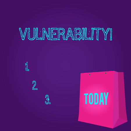 Word writing text Vulnerability. Business photo showcasing Information susceptibility systems bug exploitation attacker Color Gift Bag with Punched Hole but Without Handle on Twotone Blank Space