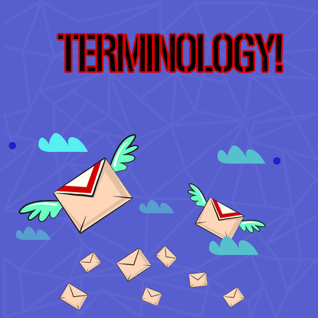 Writing note showing Terminology. Business concept for Collection of terms used by different profession study industry Colorful Airmail Letter Envelopes and Two of Them with Wings Imagens