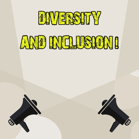Conceptual hand writing showing Diversity And Inclusion. Concept meaning range huanalysis difference includes race ethnicity gender Blank Spotlight Crisscrossing Upward Megaphones on the Floor