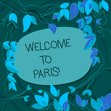 Handwriting text Welcome To Paris. Conceptual photo Arriving to the capital of France European culture Tree Branches Scattered with Leaves Surrounding Blank Color Text Space