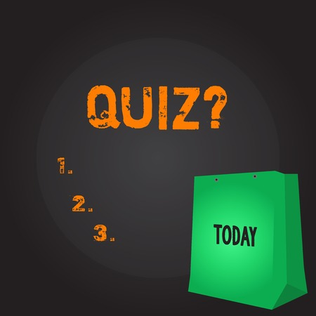 Conceptual hand writing showing Quizquestion. Concept meaning Short Tests Evaluation Examination to quantify your knowledge Color Gift Bag with Punched Hole on Two toned Blank Space