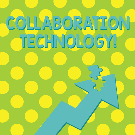 Text sign showing Collaboration Technology. Business photo showcasing joint efforts work groups to accomplish task Colorful Arrow Pointing Upward with Detached Part Like Jigsaw Puzzle Piece
