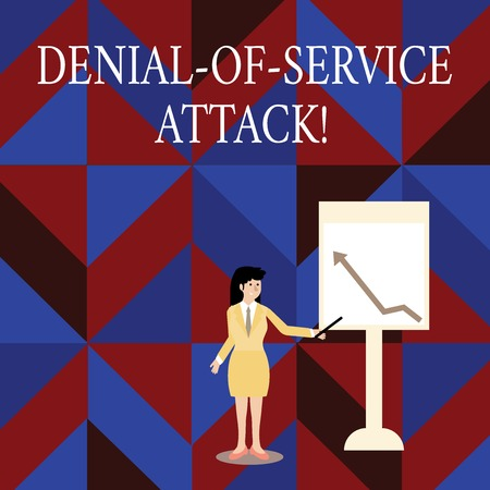 Writing note showing Denial Of Service Attack. Business concept for Attack meant to shut down a machine or network Woman Holding Stick Pointing to Chart of Arrow on Whiteboard