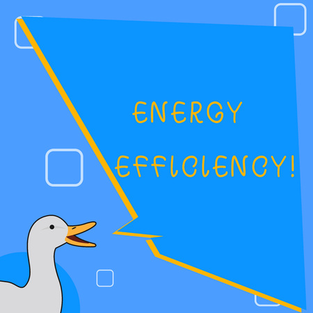 Word writing text Energy Efficiency. Business photo showcasing means using less energy to provide same services photo of Duck Speaking with Uneven Shape Blank Blue Speech Balloon Foto de archivo