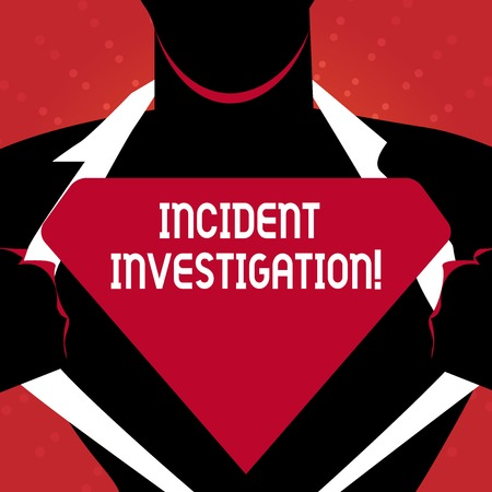 Writing note showing Incident Investigation. Business concept for Account and analysis of an incident based on evidence Man Opening his Shirt to reveal the Blank Triangular Logo