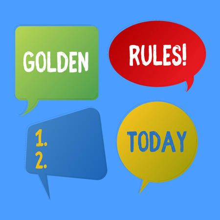 Writing note showing Golden Rules. Business concept for principle should followed to ensure success in general activity Speech Bubble Sticker in Different Shapes and Multiple Chat Stock Photo