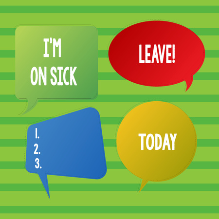 Conceptual hand writing showing I M On Sick Leave. Concept meaning absence from work school permitted because of illness Speech Bubble Sticker in Different Shapes and Multiple Chat Stockfoto - 119949516