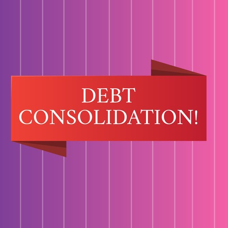 Word writing text Debt Consolidation. Business photo showcasing entails taking out one loan pay off analysisy others Blank Folded Color Banner photo on Vertically Striped Two Toned Backdrop Stock Photo
