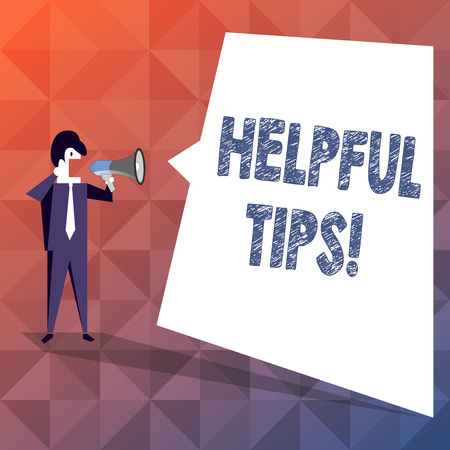 Text sign showing Helpful Tips. Business photo showcasing secret information or advice given to be helpful knowledge Businessman Shouting on Megaphone and Blank White Uneven Shape Speech Bubble