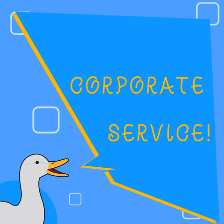 Word writing text Corporate Service. Business photo showcasing activities combine enterprise needed support services photo of Duck Speaking with Uneven Shape Blank Blue Speech Balloon Banco de Imagens