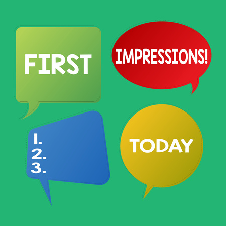 Word writing text First Impressions. Business photo showcasing idea feeling or opinion about something or someone Blank Speech Bubble Sticker in Different Shapes and Color for Multiple Chat Imagens