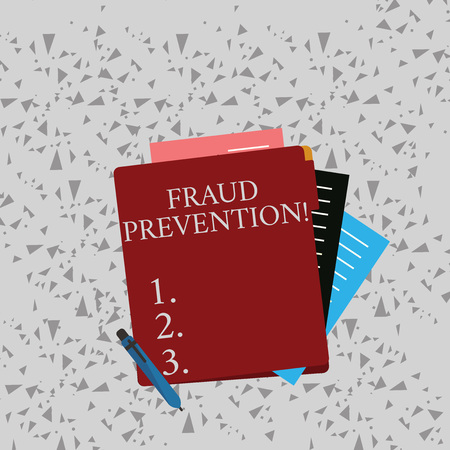 Word writing text Fraud Prevention. Business photo showcasing stop from doing or happening to hinder demonstrating acting Colorful Lined Paper Stationery Partly into View from Pastel Blank Folder