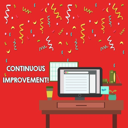 Word writing text Continuous Improvement. Business photo showcasing involves small consistent improvements over time photo of Interior Working Space Station Concept of Technical Person