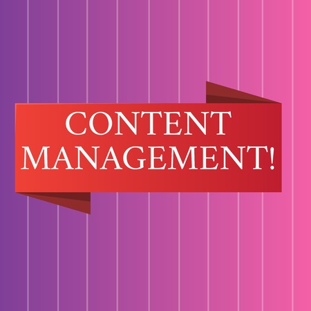 Word writing text Content Management. Business photo showcasing processes supports collection and publishing information Blank Folded Color Banner photo on Vertically Striped Two Toned Backdrop