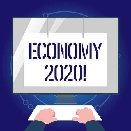 Writing note showing Economy 2020. Business concept for state of country in terms of production and consumption goods Hands on Keyboard Front White Monitor with Screen Protector Imagens