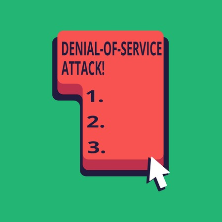 Word writing text Denial Of Service Attack. Business photo showcasing Attack meant to shut down a machine or network Direction to Press or Click the Red Keyboard Command Key with Arrow Cursor