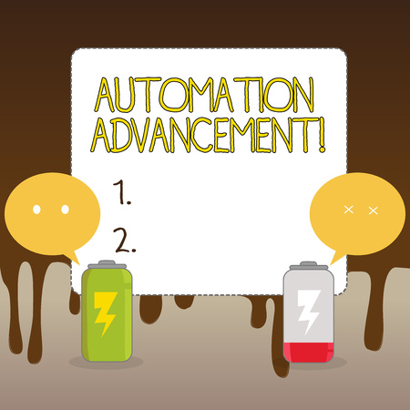 Handwriting text Automation Advancement. Conceptual photo application of machines tasks once performed huanalysiss Fully Charged and Discharged Battery with Two Colorful Emoji Speech Bubble
