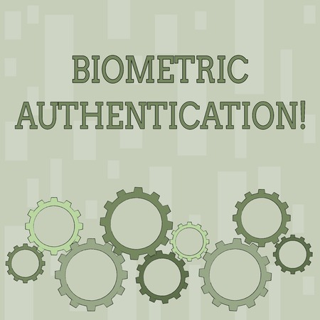 Word writing text Biometric Authentication. Business photo showcasing identity verification involves biological input Colorful Cog Wheel Gear Engaging, Interlocking and Tesselating Flat Style