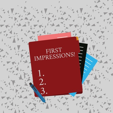 Word writing text First Impressions. Business photo showcasing idea feeling or opinion about something or someone Colorful Lined Paper Stationery Partly into View from Pastel Blank Folder