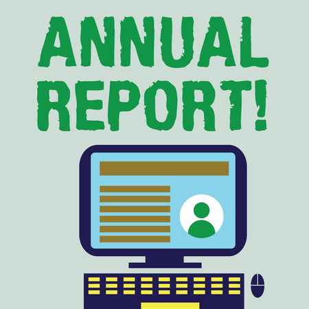 Word writing text Annual Report. Business photo showcasing includes information on what have become known within year Desktop Computer Mounted on Stand with Online Profile Data on Monitor Screen