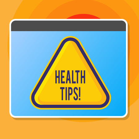 Writing note showing Health Tips. Business concept for state of complete physical mental and social well being advices Blank Yellow Embossed Triangle with Border as Web Button In Screen