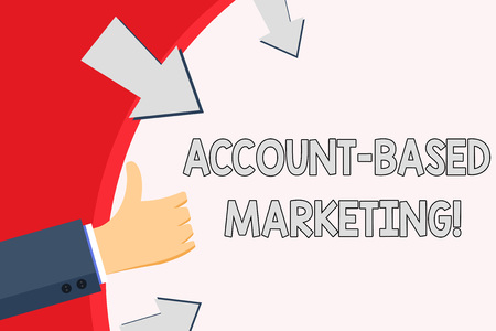 Handwriting text Account Based Marketing. Conceptual photo strategic approach to business based on accounting Hand Gesturing Thumbs Up and Holding on Blank Space Round Shape with Arrows Stok Fotoğraf