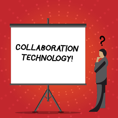 Conceptual hand writing showing Collaboration Technology. Concept meaning joint efforts work groups to accomplish task Businessman with Question Mark Above his Head Blank Screen Imagens