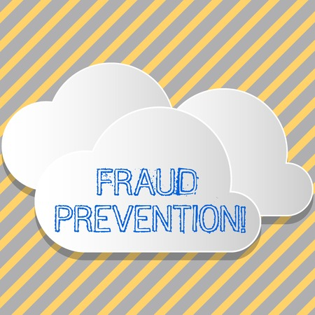 Conceptual hand writing showing Fraud Prevention. Concept meaning stop from doing or happening to hinder demonstrating acting White Clouds Cut Out of Board Floating on Top of Each Other
