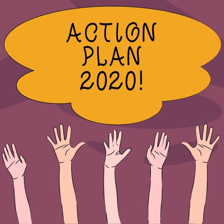 Handwriting text Action Plan 2020. Conceptual photo proposed strategy or course of actions for next year Multiracial Diversity Hands Raising Upward Reaching for Colorful Big Cloud