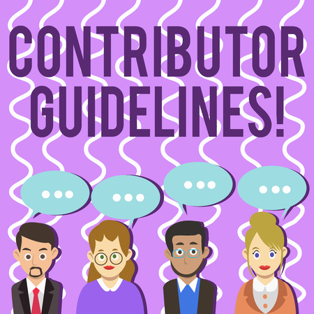 Conceptual hand writing showing Contributor Guidelines. Concept meaning demonstrating who writes articles for magazine or newspaper Group of Business People with Speech Bubble with Three Dots Archivio Fotografico