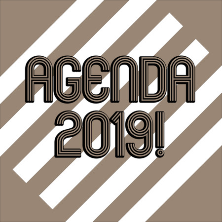Conceptual hand writing showing Agenda 2019. Concept meaning list of items to be discussed at formal meeting or event White and Brown Stripes Alternately on Chocolate Background 版權商用圖片