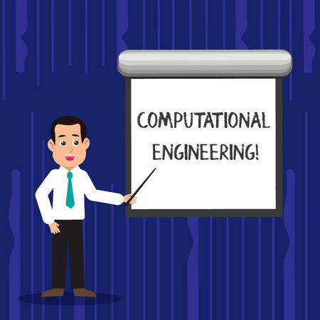Text sign showing Computational Engineering. Business photo text development and application computational models Man in Necktie Talking Holding Stick Pointing to Blank White Screen on Wall Reklamní fotografie