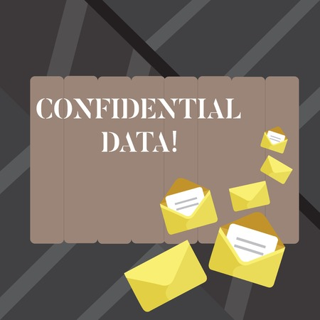 Text sign showing Confidential Data. Business photo showcasing term that typically represents them as classified Closed and Open Envelopes with Letter Tucked In on Top of Color Stationery